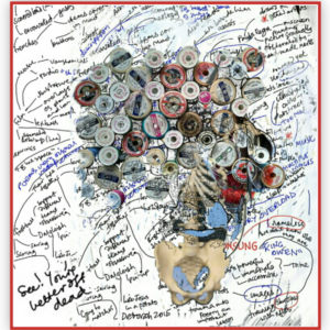 The picture is made up of lots of layers. Underneath there's a my face. There are cotton reels seen from above, in place of hair. A pelvis from a skeleton for the jaw and chin. All around are words from a mind map. Bottom left it says: See! You're better off dead.