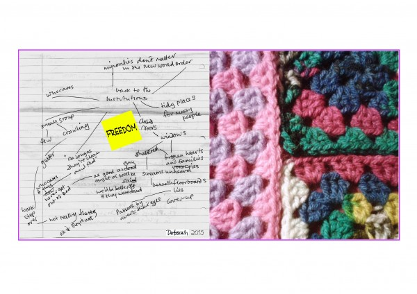 The left half contains a mindmap with the word 'freedom' in the centre. On the right, close-up of crochet squares.