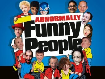 collage of comedians faces on red and yellow cartoon bodies on a blue background