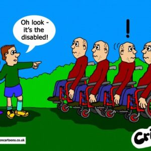 """A middle-aged woman is standing with a young lad, staring at a group of men in wheelchairs. The boy is pointing at the wheelchair-users saying """"Oh look it's the disabled."""" The men are all exactly the same."""