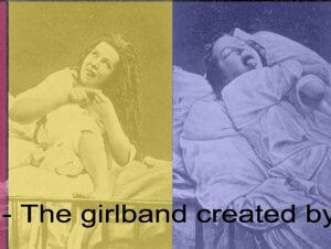 Superimposed over a victorian psychiatric photo of four women in 'hysterical' poses, is my text saying: Hysteria, the girlband created by psychiatry.