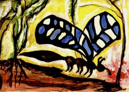bright watercolour painting of a butterfly