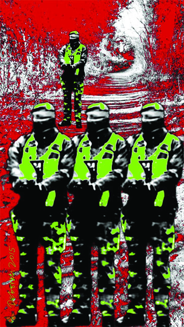 Three identical soldiers, identical in a line, one further back. One has a butterfly on his boot. They are all in camouflage green, standing against a background of mainly red shrubbery and trees.