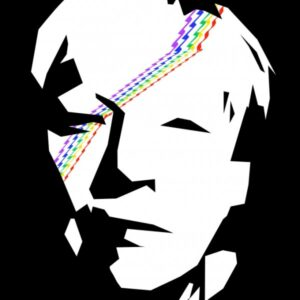 Black and white face with zig-zag rainbow across face.
