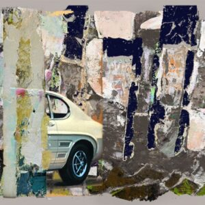 digital image incorporating part of a car against an abstract series of layered textures