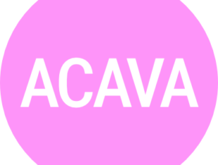 Pink circle on a white background with ACAVA in white text inside