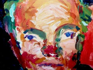 self-portrait of the artist/ authors face using expressive strokes of the paintbrush and bold colours
