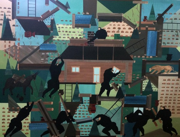 Andrea Joyce Heimer, The Rebuild Of My Grandmother's Cabin In Lincoln, Montana, 2015. A colourful piece featuring black figures, building a cabin in a very stylised manner.