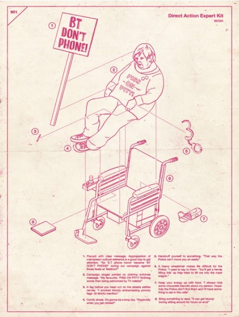 An illustration by CIA's Tobatron inspired by disability rights activist Barbara Lisicki, presented in a 'how to' guide fashion.