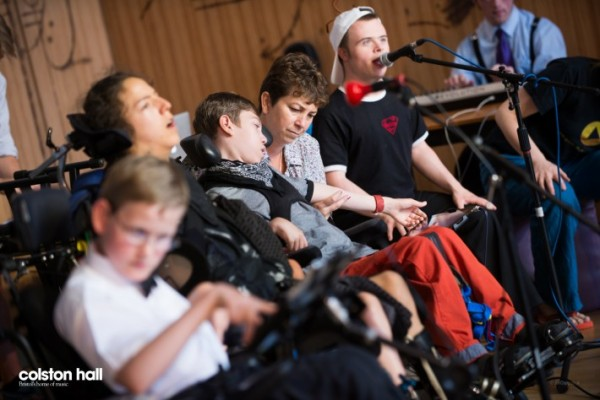 A group of young disabled musicians take part in the Fast Forward Festival at Colston Hall on 3 July