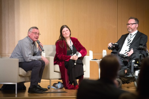 A photograph of Christopher Smit, Aaron Williamson and Ruth Gould speaking during opening night at GRAM, they are sat as if in a panel discussion.