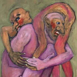 Marie-Louise Plum's painting Backyard Wrestling shows two purple-coloured figures grappling. Acrylic on canvas.