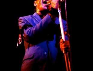 A photograph of Ian Dury performing with a mic stand