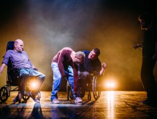 A production shot from Birds of Paradise's Purposeless Movements featuring from left to right Pete Edwards, Colin Young, Laurence Clark, Jim Fish