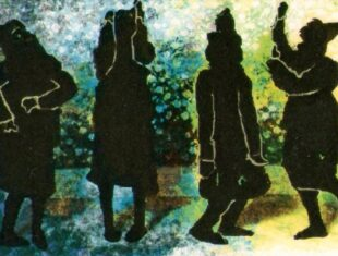 cover image of Shadows Waltz Haltingly shows four black silhouettes of figures in dance poses.