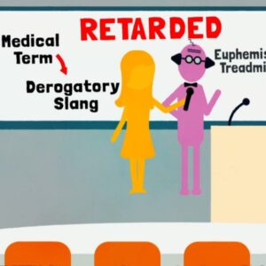 A screen grab taken from the promotional trailer for upcoming film 'The R-Word'. It depicts a cartoon woman interviewing a professor in front of a whiteboard that has the word 'Retarded' written on it.