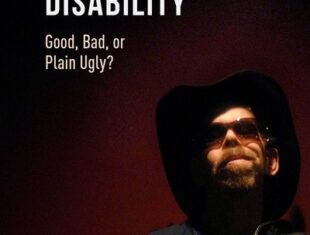 the book cover shows actor/ musician Jez Colborne wearing a wide-brimmed hat, dark glasses and an American badge on his lapel