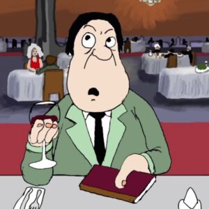 a cartoon character holds up a glass of wine in a restaurant