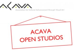 ACAVA logo with logo and ACAVA OPEN STUDIOS inside red lines