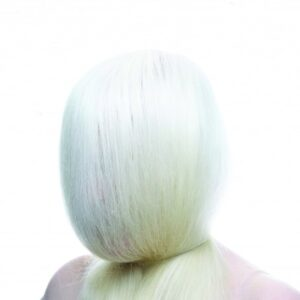 photo of a head encompassed by a shroud of white hair