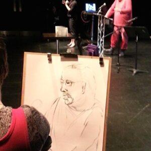 photo of Tanya Raabe-Webber's live drawing of Sean Burn