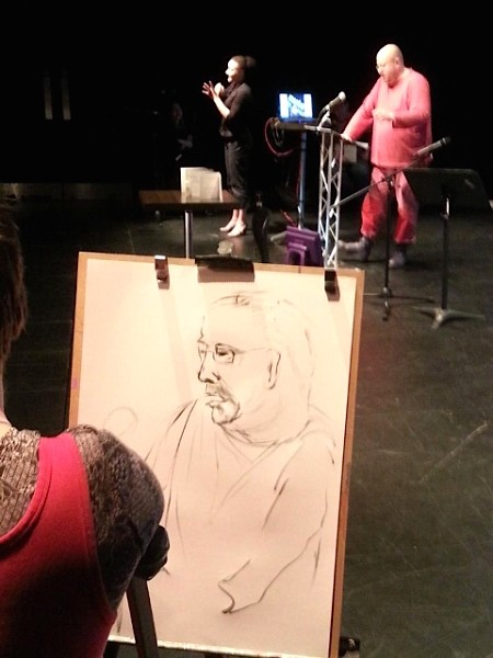 photo of Tanya Raabe-Webber's live drawing of Sean Burn