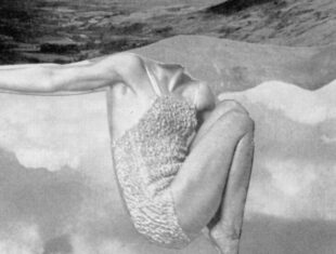 Pum Dunbar's The View from Here. Black and white collage of a woman's body scrunched up against sky and sea.