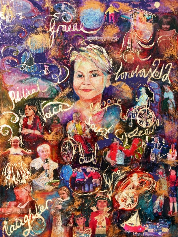 A mixed media artwork by Rachel Gadsden inspired by actress Nicki Wildin, featuring photographs of her amidst a swirling colourful background.