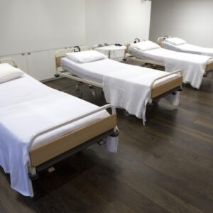 photo of a series of hospital beds