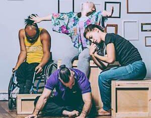 A photograph of four Stopgap dancers
