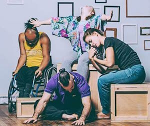 A photograph of four Stopgap dancers