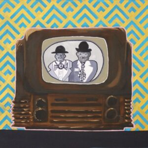 A painting from Cameron Morgan's TV Classics Part 1 it shows Laurel and Hardy on a old-fashioned TV-set with wallpaper appropriate for the time in the background.