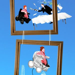 An image of Katherine Araniello with flaming red hair, pictured within two frames suspended one above the other against a blue backdrop. In the top image a suited man is leaning over a table with a white cloth, as the cork from a bottle of bubbly shoots out and glasses and containers fly. In the lower image of Katherine's wheelchair resembles an infants pram. The London skyline is traced in white lines at the bottom of the image
