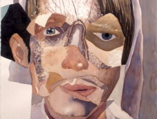 portrait of a young man's face painted in a collage-style, divided into planes
