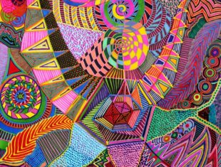 psychedelic drawing using vibrant swirling colours by Lea Cummings