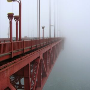 The Golden Gate Bridge pictured in fog.