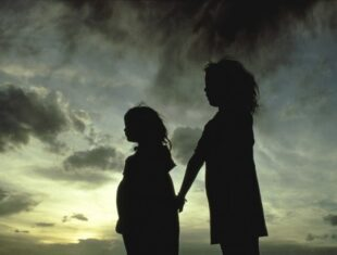 flyer for People of the Eye showing silhouette of two young girls against a stormy sky