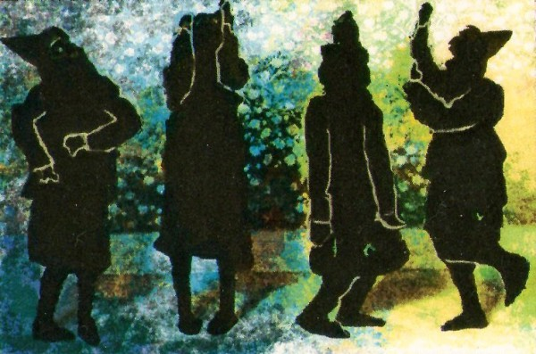 cover image of Shadows Waltz Haltingly shows four black silhouettes of figures in dance poses. The background is a mottled yellow/ blue colour