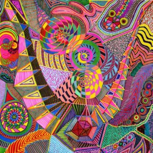 A painting by Lea Cummings featuring mesmeric patterns and psychedelic colours