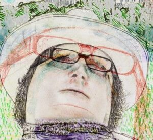digital portrait of author Owen Lowery picturing the poets' face surrounded by a field of green