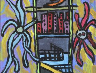 Thompson Hall painting featuring dark colours, it depicts the view from a window out onto a cityscape, with creeping creatures around the windows.