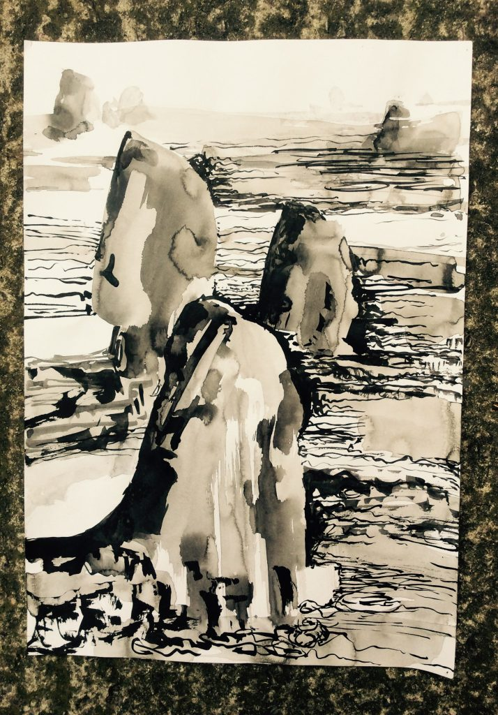 Pen an ink landscape drawing of three large rock forms