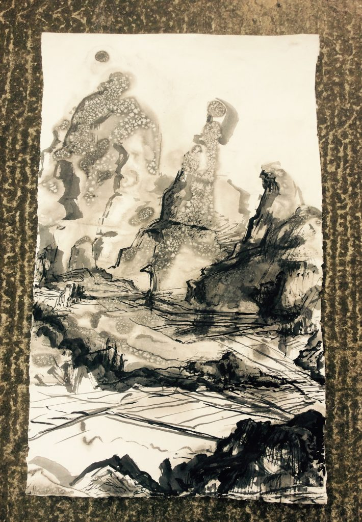 Ink drawing of a rocky landscape, featuring ethereal strokes