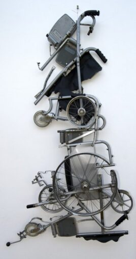sculpture of the map of Great Britain made out of parts of a manual wheelchair