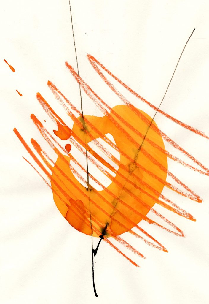 Abstract painting of an orange circular object overlaid with red zig-zag lines
