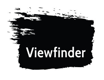 Viewfinder logo featuring white text inside a black brushtroke