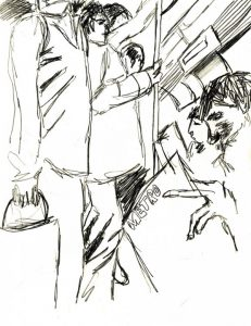 Drawing of people on a bus from a wheelchair-user's perspective