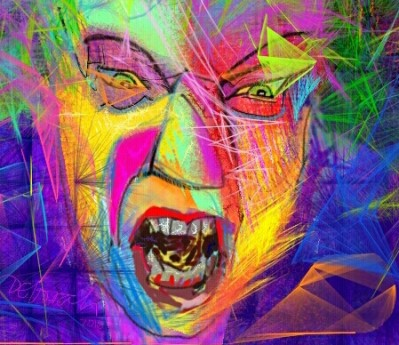 Angry face showing teeth. Vibrant, clashing colour, translucent in places.