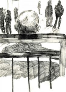 drawing of the back of a man's head from a wheelchair user's perspective