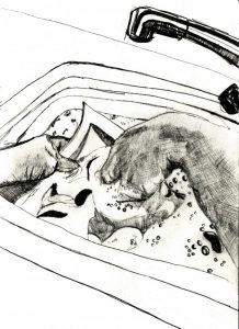 drawing of two hands in a sink washing the dishes, taken from a wheelchair user's perspective